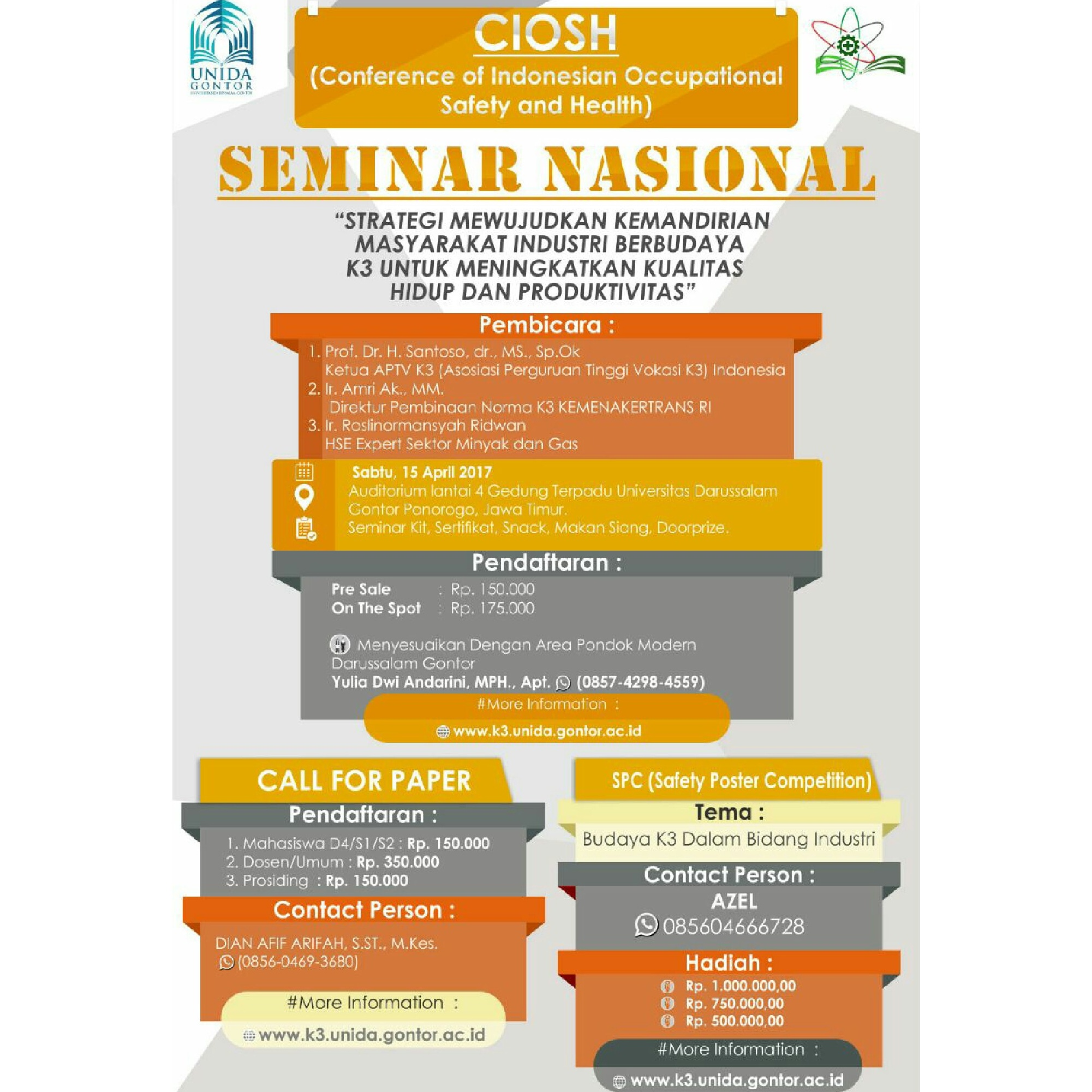 Conference of Indonesian Occupational Safety and Health (CIOSH)- SEMINAR NASIONAL